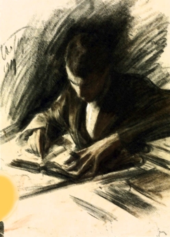 Boris Pasternak Writing 1919 by Leonid Pasternak 1862-1945